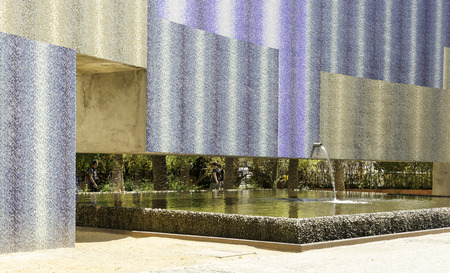 Fountain with colored walls outdoor - non-ordinary solution and design