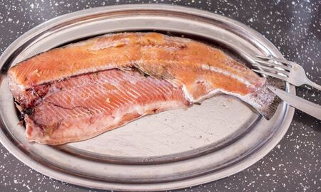Super fresh home-salted trout red and oily and super delicious. Made in Portugal. Consumed in Portugal. Banco de Imagens