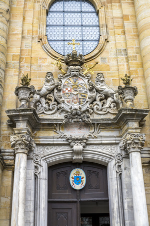Gorgeoushand made decorations of the church entrance door. Banco de Imagens