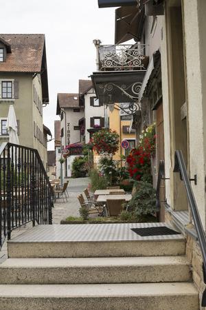 unoccupied: Restaurants on the sidewalk in Bavaria, Germany. Wonderful village. Stock Photo