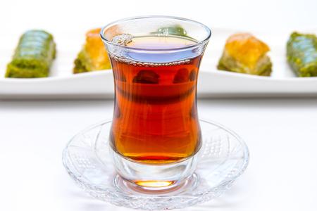 Turkish baklava with tea