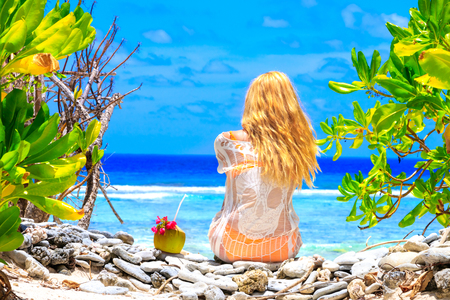 Beautiful girl in Maldives Stock Photo