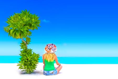 Escape the Dreamscape with beauty girl on Maldives Stock Photo