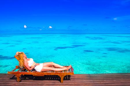 borabora: Escape the Dreamscape with beauty girl on Maldives Stock Photo