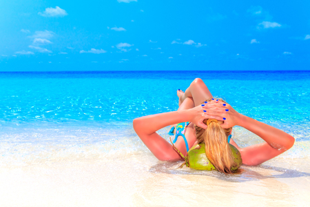 Escape the Dreamscape with beauty girl on Maldives Stock Photo