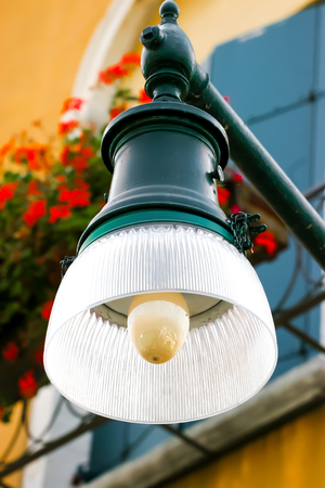 Vintage Street lamp at Dusk in Venice Italy Stock Photo