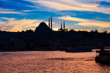 Mosque in the night in istanbul Turkey