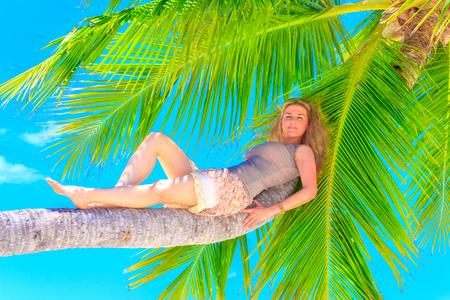 Dreamscape Escape with beauty girl on Maldives Stock Photo