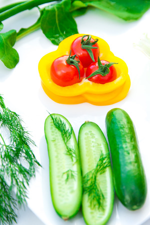 Breakfast with the fresh vegetables Stock Photo