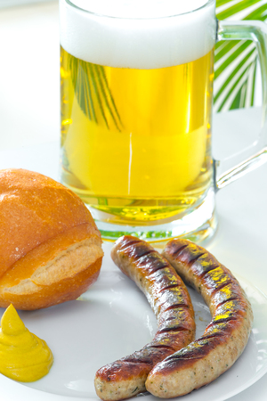 Fried sausage Stock Photo