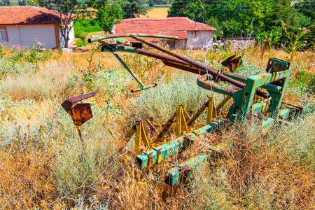 derelict tractor Stock Photo