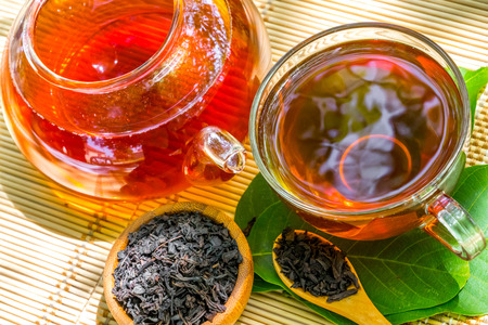 Black tea beautifully composed in the nature