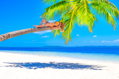 Blond woman with bikini sunning on a palm tree on a sandy beach in the Maldives