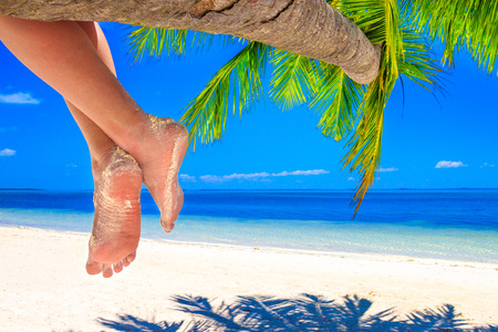 Hanging feet with calves on a palm tree on the sand beach on Maldives