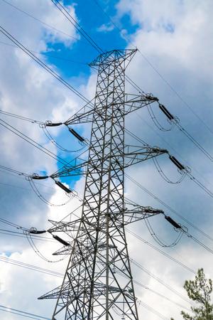 High Voltage Powerline Stockfoto