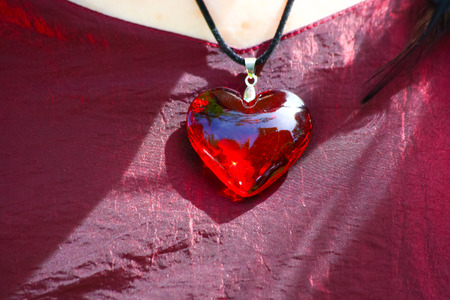 Red heart-shaped necklace