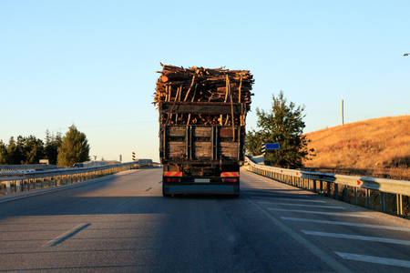 Big truck with loaded wood on the road