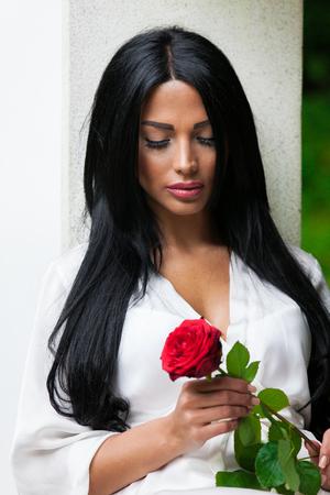 Pretty Woman in garden Stock Photo
