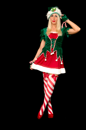 Portrait of beautiful sexy girl wearing xmas costume