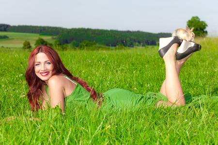 Beautiful girl with rabbit Stock Photo