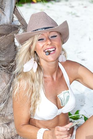 Girl with booty on pirate island Stok Fotoğraf