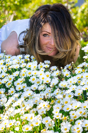 Woman chamomile Flowers