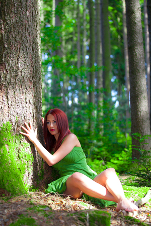 Redhead in the forest