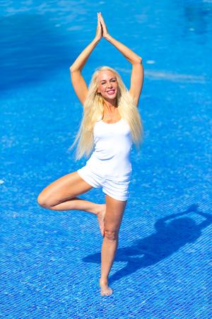 Pretty Blonde Woman in Pool