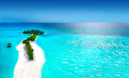Islands and turquoise ocean from above