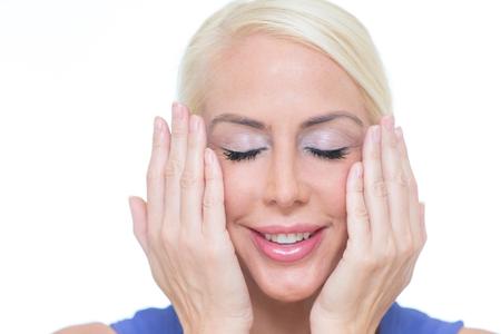 Blonde woman face mimic