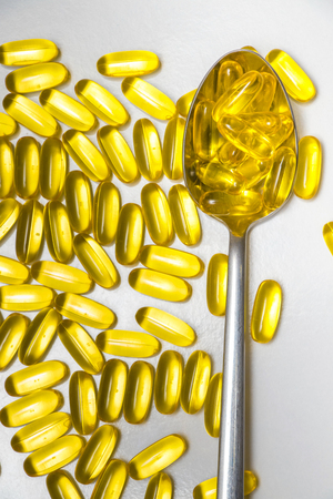 Healthy supplements with Omega 3 fish oil Imagens