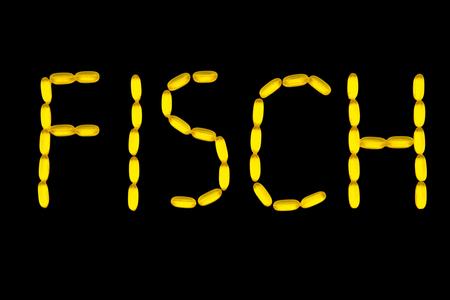 Alphabet with fish oil capsules - Fisch