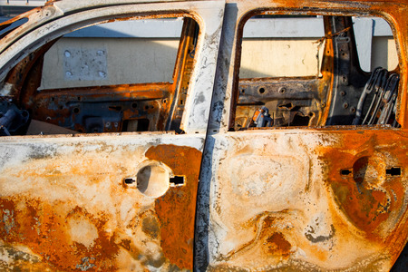 Rusted car chassee