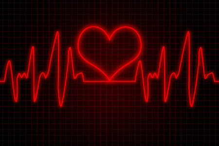 Heart and heartbeat symbol - Red colors