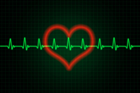 Heart and heartbeat symbol - Green and red colors