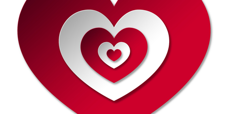 Red and White Heart Shapes Valentine Card