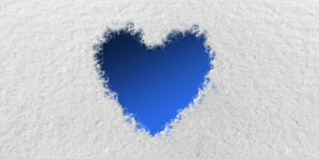 Blue Heart in front of Snow Background