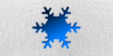 Snowflake Graphic in front of Snow Background 版權商用圖片