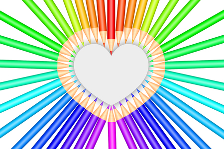 Colorful pencils and heart shape
