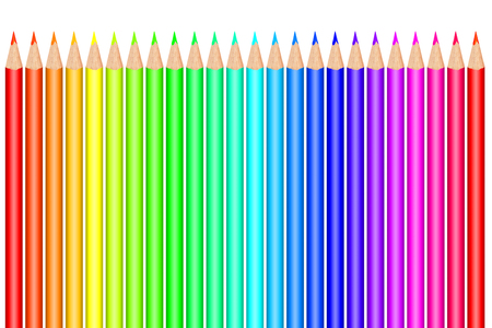 Multi colored pencils on white background Foto de archivo