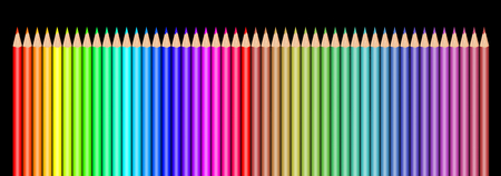 Multi colored pencils on black background Stok Fotoğraf - 117220561