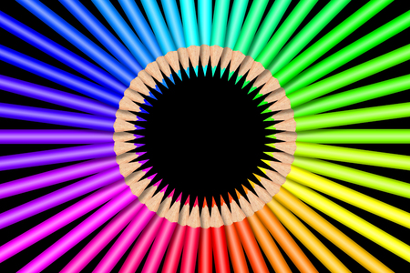 Colorful color pencils in front of black background Foto de archivo