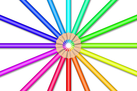 Colorful color pencils in front of white background