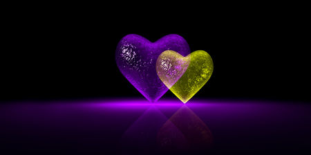 Glossy glass heart graphic - Purple and Yellow