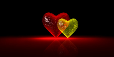 Glossy glass heart chart - Red and Yellow