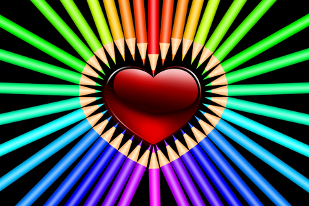 Color pencils and heart shape on black background