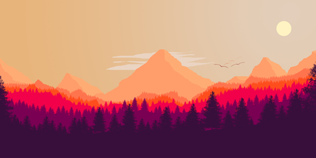 Forest and mountains silhouette, vector illustration 스톡 콘텐츠