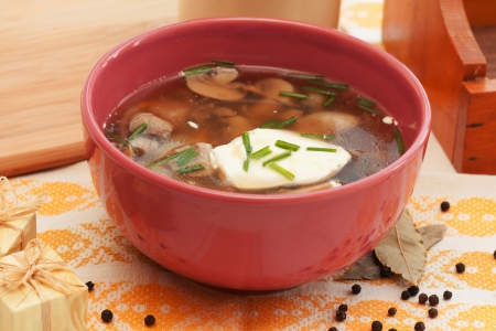 soup with mushrooms, sour cream and greens photo