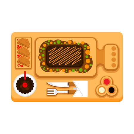One serving of Steak and snacks on a tray