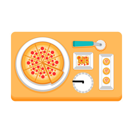pizza with drinks and snacks